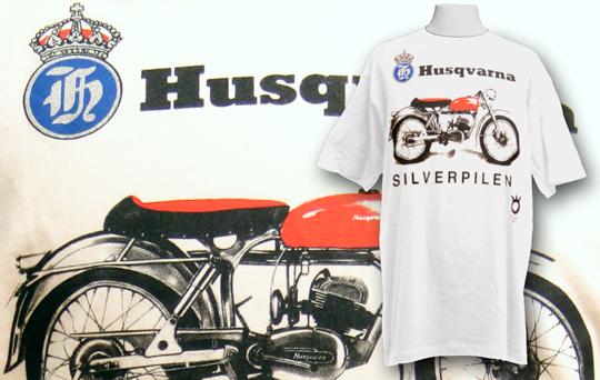 Screentryckta huskvarna motorcykel tshirts