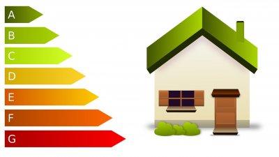 Illustration av ett hus och energimärkning