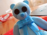 cake topper teddy whit button eyes