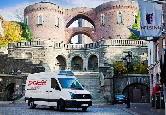 En av våra budbilar som kör runt i Helsingborg