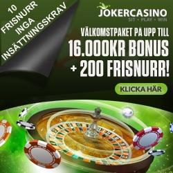 Joker Casino valkomstbonus