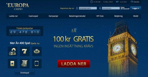 Gratis casino online bonus hos Europa Casino!