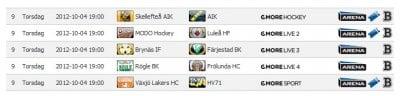 Spelschema Elitserien 2012-10-04