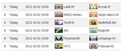 Elitserien spelschema 2012-10-02