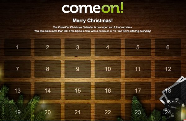 Free spins in ComeOn's christmas calendar!