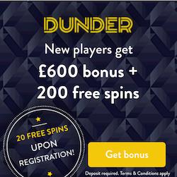 Dunder casino bonus offer