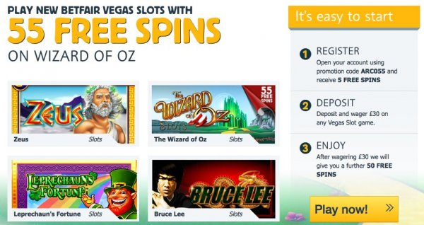 Free bonus and free spins for new players at Betfair!