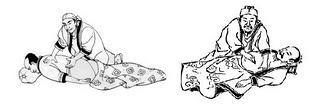 gammalt japansk träsnitt visar shiatsu tekniker