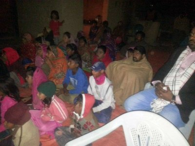 People in Pakistan waching the movie about Jesus Christ in the streets and in small villages