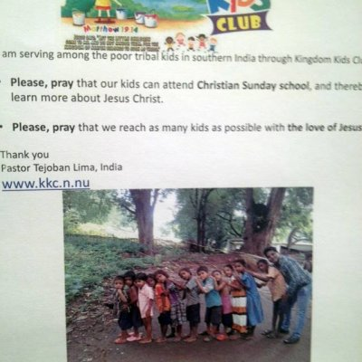 Kingdom Kids Club thanks Aspnäs church in Sweden for let us setting up this prayer request on the church´s advertisement board. The kids in India thank the church with a new song