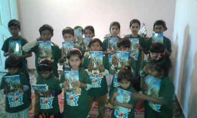 The kids have just submit their contributions to the great KKC painting contest, and they have also received their KKC uniforms and kid-bibles written in Urdu