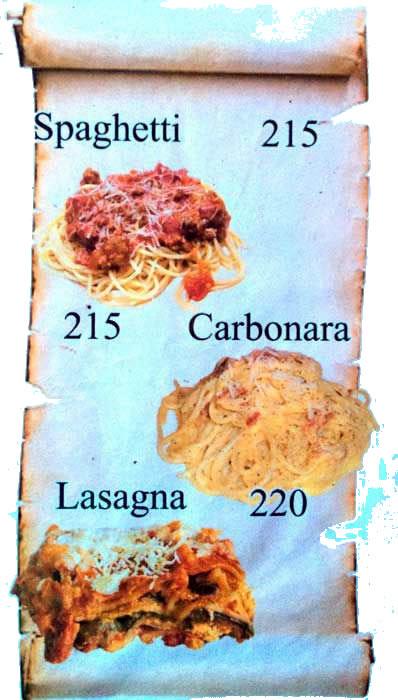 Restaurant menu mactan