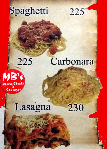 MB's Menu Spaghetti Lasagna Carbonara