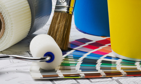 färgpalett, roller, pensel