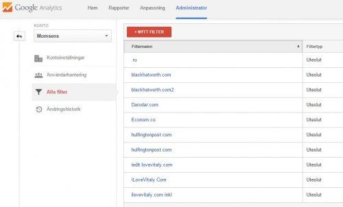 blockera trafik från domäner i Google Analytics statistiken