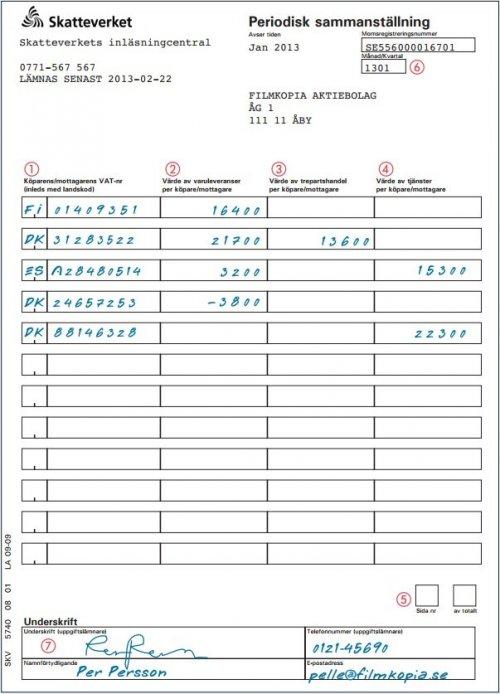 Periodisk sammanställning. Exempel på Skatteverkets pappersblankett.