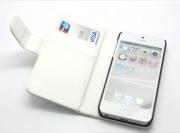 iPhone 5 Plånbok PU Läder Vit
