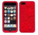 Rosor 3D Motiv Silikon Röd iPhone 5