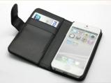iPhone 5 Plånbok PU Läder Svart