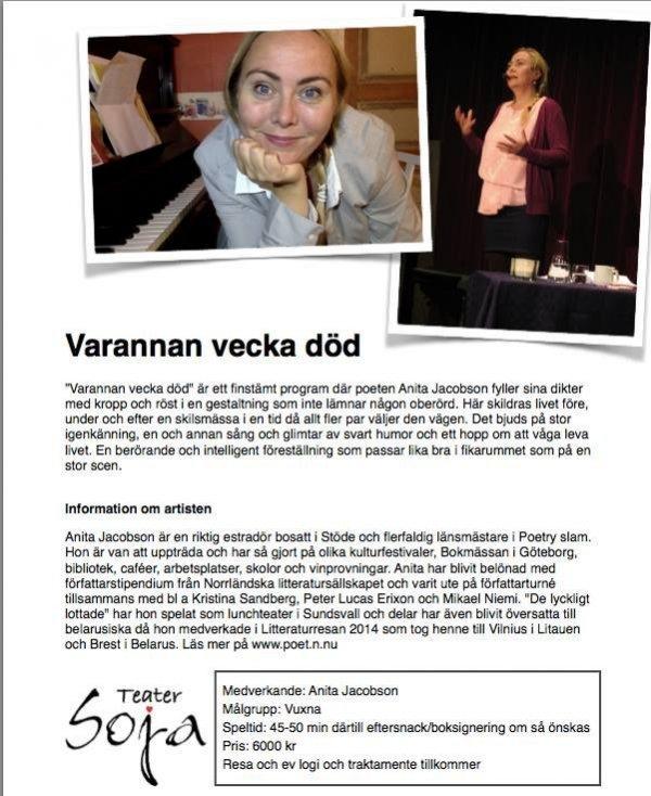 Varannan vecka död med Anita Jacobson