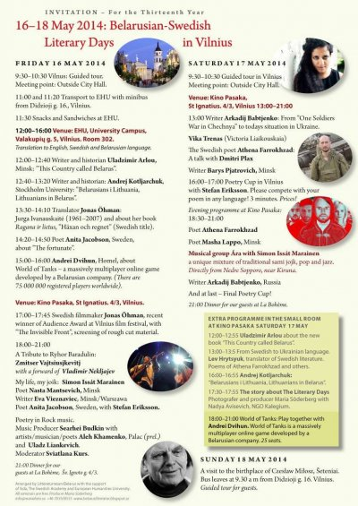Belarusian-Swedish Literary Days in Vilnius