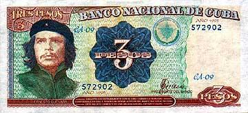 Che Guevara's portrait on the Cuban 3 peso note