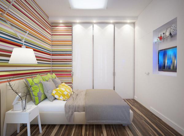 vitt och ljust sovrum byggt i källaren