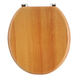 Anika Antique Pine Toilet Seat With Chrome Plated Hinges