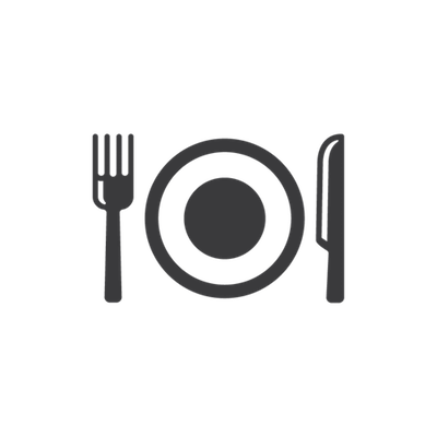Plate with knife and fork and food-icon
