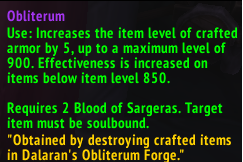 Obliterum On Crafted Items
