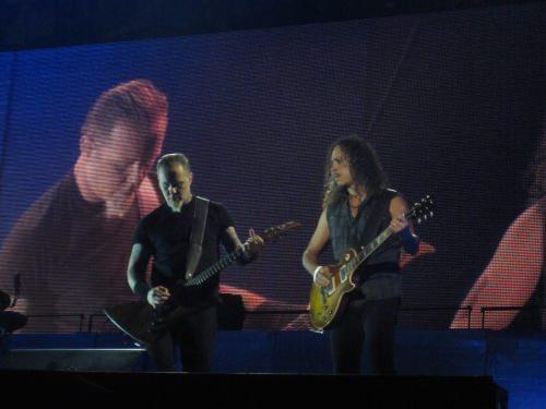 James Hetfield und Kirk Hammett 2009 bei einem Auftritt von Metallica in Foro Sol, Mexico.