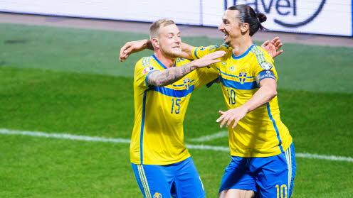 Sverige fotboll live stream gratis – streama Sverige fotboll , live streaming Sverige fotboll, Zlatan och Guidetti på bilden.
