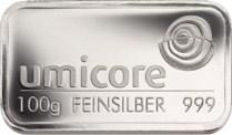 Präglad 100 grams silvertacka från Umicore