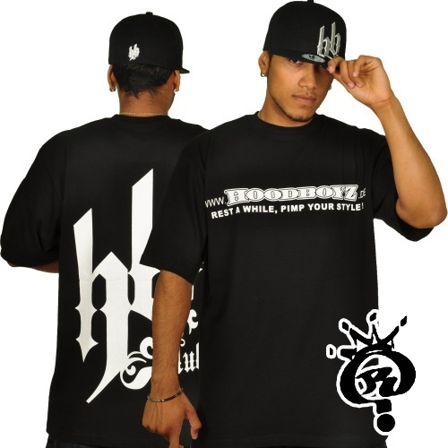 TRIKO HOODBOYZ - T-shirt  black/white