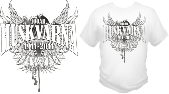 Screentryckta huskvarna jubileums tshirts