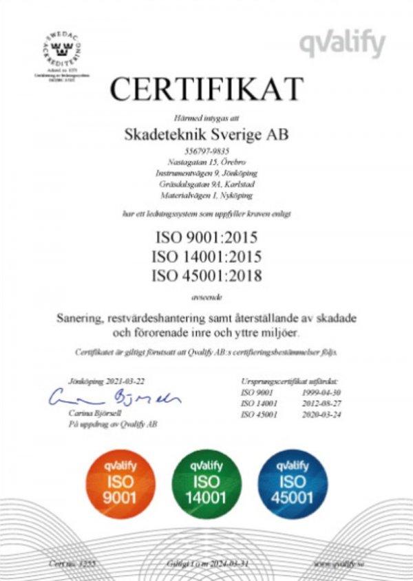 Vi innehar ISO certifikat för trygga saneringar.