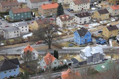 Bild på ett bostadsområde med villor