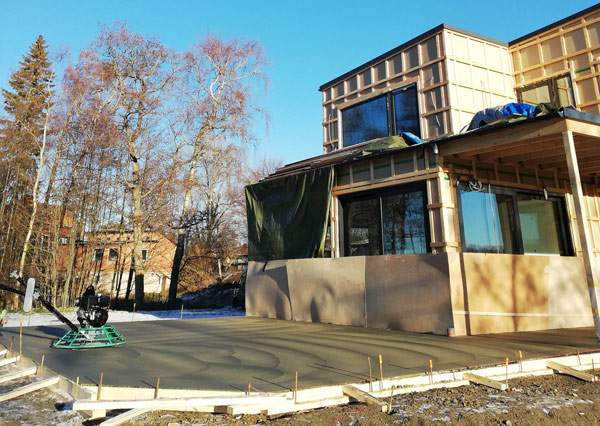 betonggjutning vid villa