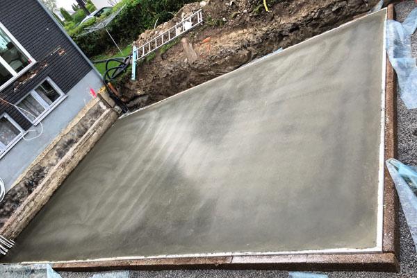 nylagd betonggrund