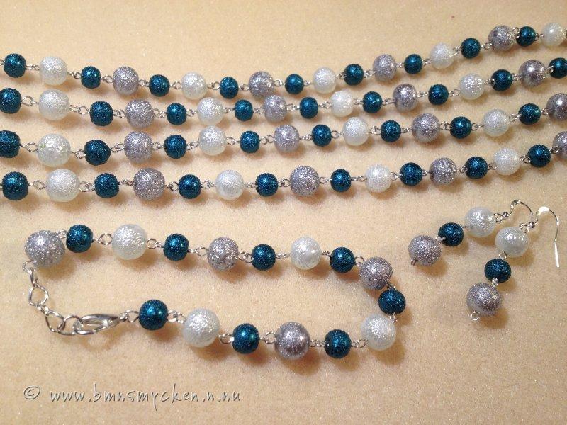 Sett x-lång ispärlor turkos vit silver ... 517271f6f2d04