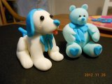 sugarpaste friends dog and teddy bear