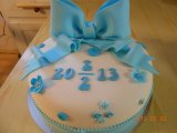 christening cake big bow