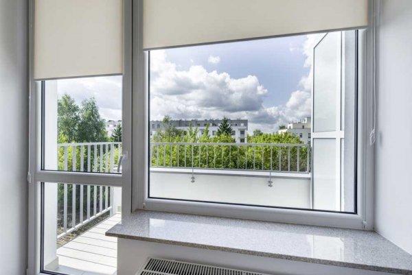 Fönster med utsikt mot grönska och byggnaded