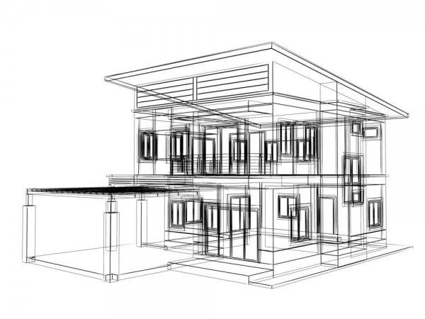 Svartvit ritning av hus