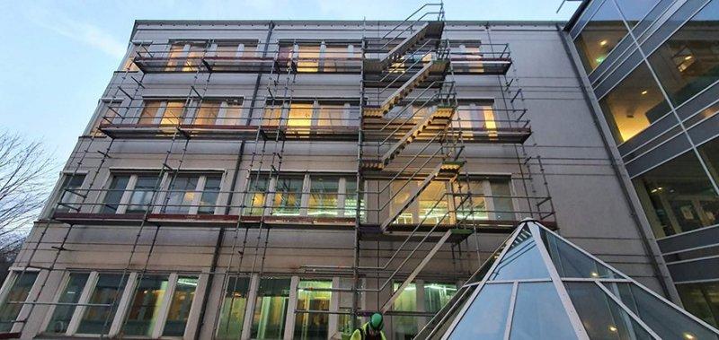 Byggställning hos ett företag i Göteborg.