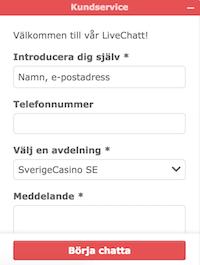 SverigeCasinos live chatt