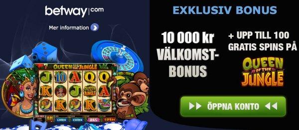 Få exklusivt bonuspaket hos det svenska casinot Betway!