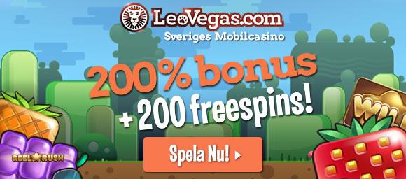 Spela casino online med bonus och free spins hos Leo Vegas!