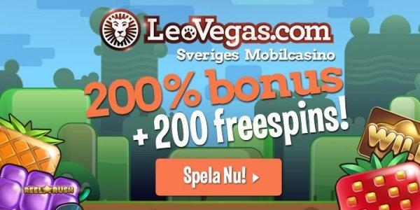 200 free spins hos det svenska casinot Leo Vegas!