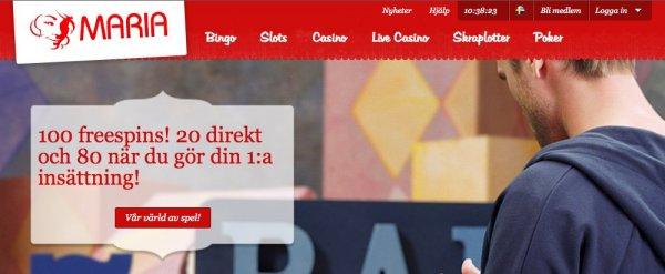 Svenska casinot Maria bjuder på bonus och free spins!